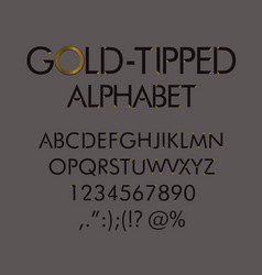 gold-tipped alphabet with numbers and punctuation vector image vector image