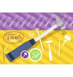Hammer and nails hammer tool vector image