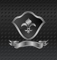 heraldic shield on metallic background - vector image