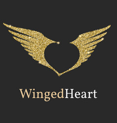 logo with a golden glitter sheen symbol with vector image