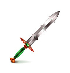 Old sword with green handle isolated on white vector