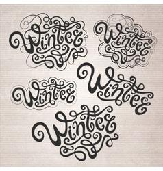 Winter hand lettering set vector
