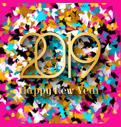 2019 happy new year gold numbers vector image