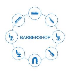 8 barbershop icons vector