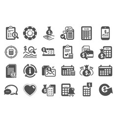 Accounting icons set calculation check vector