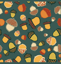acorn woodland seamless repeat pattern design vector image