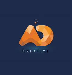 Ad letter with origami triangles logo creative vector