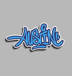 austin texas usa hand lettering sticker design vector image