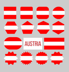 austria flag collection figure icons set vector image