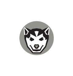 Baby wolf cub head circle retro vector