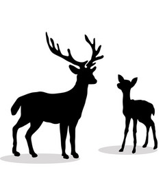Black silhouette deer and fawn white backgroun vector