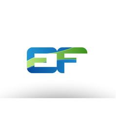 Blue green ef e f alphabet letter logo vector