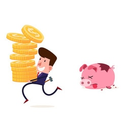 breaking piggy bank vector image