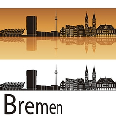 Bremen skyline in orange background vector