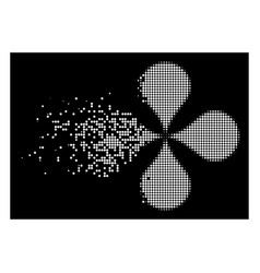 Bright disintegrating pixel halftone map pointers vector