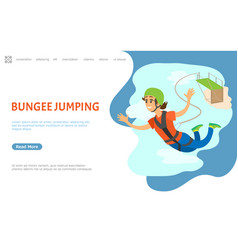 bungee jumping woman with rope flying website vector image