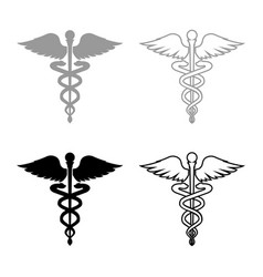 Caduceus health symbol asclepiuss wand icon set vector