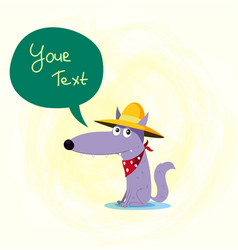 cartoon a wolf wearing cowboy hat vector image