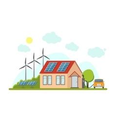 Cartoon Eco Home Exterior Facade vector