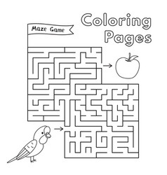 cartoon parrot maze game vector image