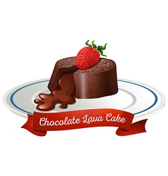 Chocolate lava cake on plate vector