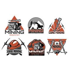 Coal mining picks miner helmets and equipment vector