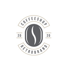 Coffee shop logo template bean silhouette vector