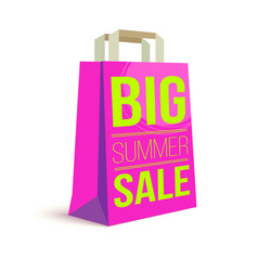 color paper shopping bag with ad text big summer vector image vector image