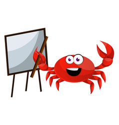crab with blackboard on white background vector image