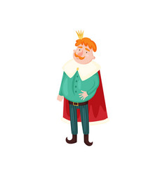 cute red hair and mustache king with gold crown vector image