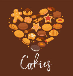 Delicious cookies with chocolate and cream in big vector
