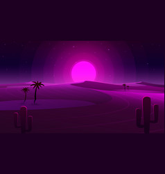 desert neon cover with oasis and palm trees vector image