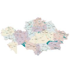 Detailed map of kazakhstan vector