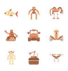 different robot icons set cartoon style vector image