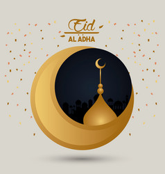 Eid al adha celebration card with moon and mosque vector