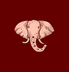 Elephant logo art with line and dot vector