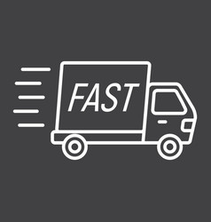 Fast shipping line icon delivery truck vector