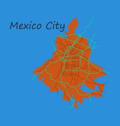 Flat color map of mexico city mexico city plan vector