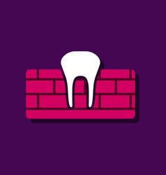 Flat icon design collection tooth and gum in vector