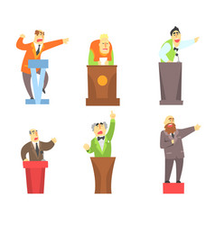 flat set of adult men standing behind vector image