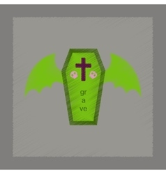 flat shading style icon wings coffin vector image