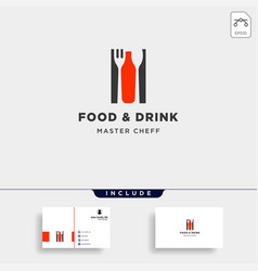food and drink bottle simple flat logo design vector image