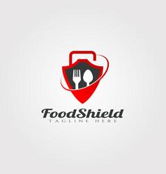 Food shield logo design icon vector