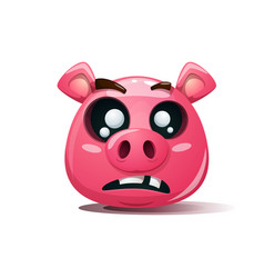 funny cute crazy pig icon dead smiley symbol vector image