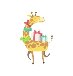 Giraffe Cute Animal Character Attending Birthday vector