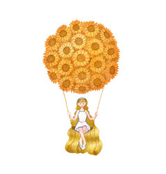 girl sitting on swing under sunflower balloon vector image