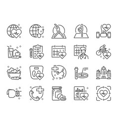 global healthcare line icon set vector image
