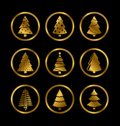gold silhouette christmas trees icons vector image