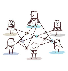 Group business people connected lines vector