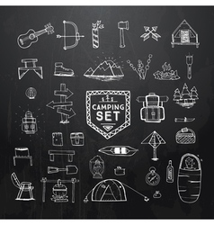 hand drawn camping set on black vector image